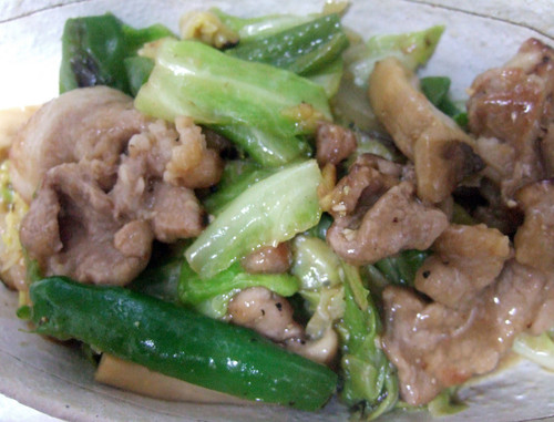 Spring cabbage and pork stir-fry with miso and oyster sauce