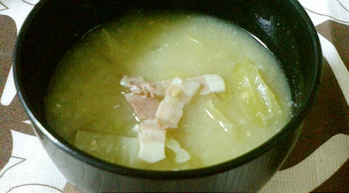 Spring Cabbage and Bacon Miso Soup