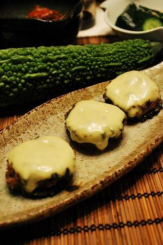 Bitter Melon Hamburgers Topped with Melted Cheese