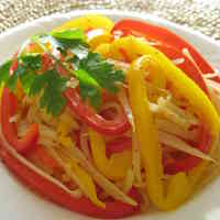 Bell Pepper and Potato Stir-fry with Whole Grain Mustard