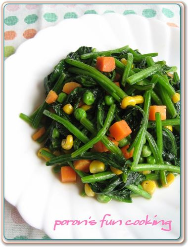 Spinach and Mixed Vegetables Stir-fried in Butter
