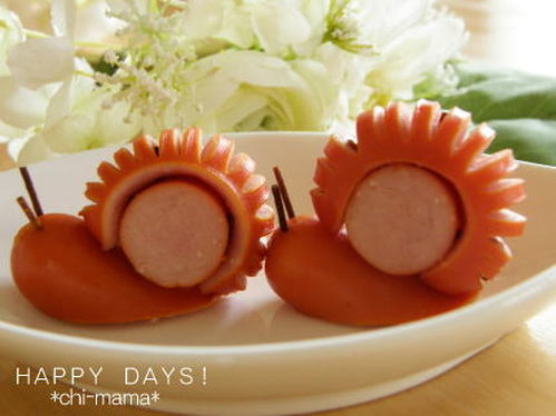 Wiener Sausage Snails For Lunchboxes