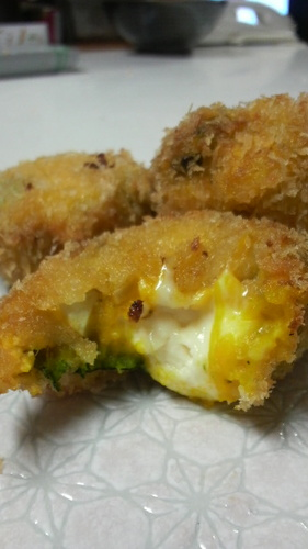 Kabocha and Egg Melting Cheese Croquettes