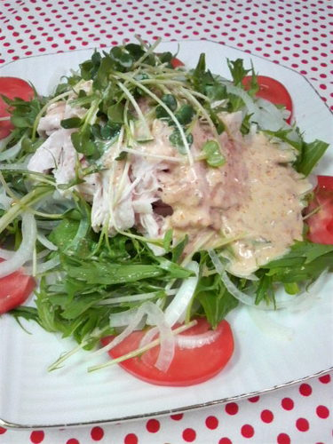 Chicken Breast and Mizuna Green Salad with Umeboshi, Mayonnaise, and Wasabi