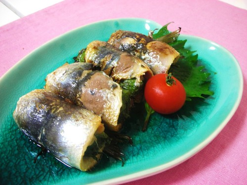 Grilled Sardine Rolls with Umeboshi and Shiso Leaves