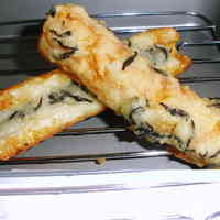 Fried Chikuwa Fishcake Sticks and Hijiki Seaweed using Flour and Potato