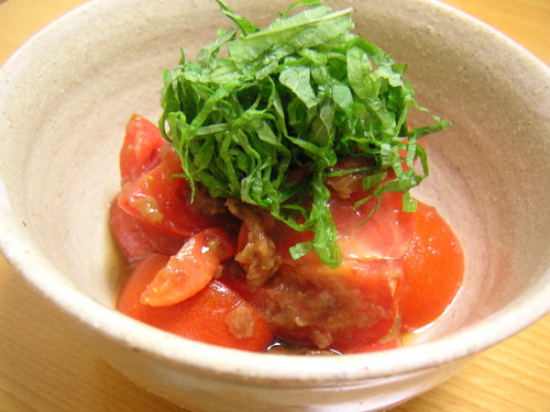 Tomatoes Dressed with Umeboshi Pickled Plums and Bonito Flakes