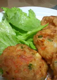 Fluffy Ganmodoki Tofu Fritters with Sakura Shrimp