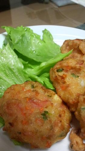 Fluffy Ganmodoki Tofu Fritters with Sakura Shrimp