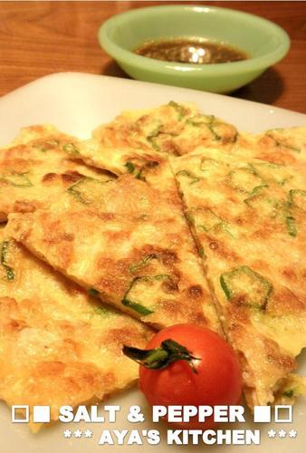 Okra and Pork Chijimi with Tempura Crumbs