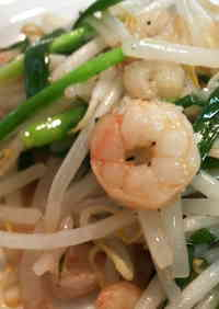 Stir-fried Bean Sprouts and Prawns with Salt and Garlic