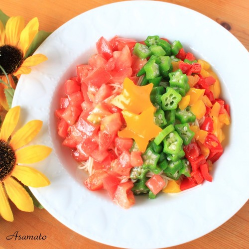 Tomato and Okra Milky Way Somen Noodles for Tanabata