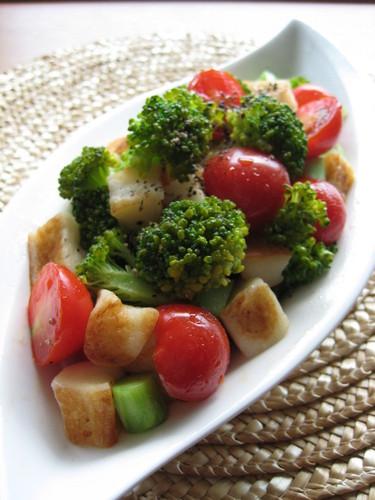 Fried Hanpen Fishcake and Broccoli Salad