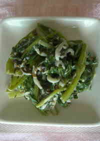 Spinach and Shirasu Tossed with Mayonnaise Ginger Sauce