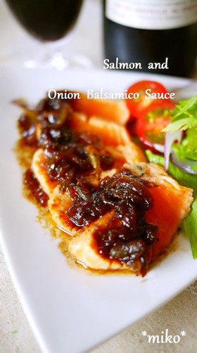 Seared Salmon with Onion-Balsamic Sauce