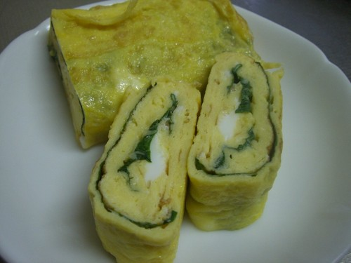 Tamagoyaki (Rolled Japanese Omelette) With Shiso Leaves
