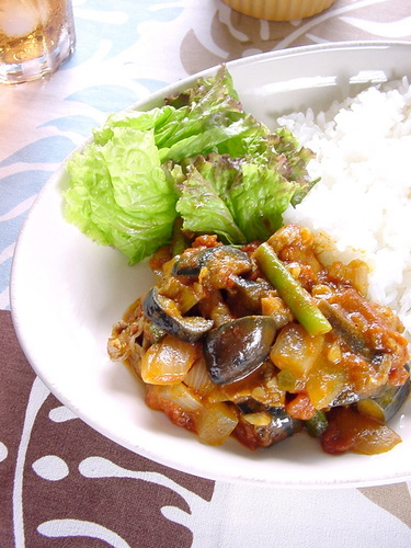 Curried Summer Veggies & Pork Simmered with Tomatoes
