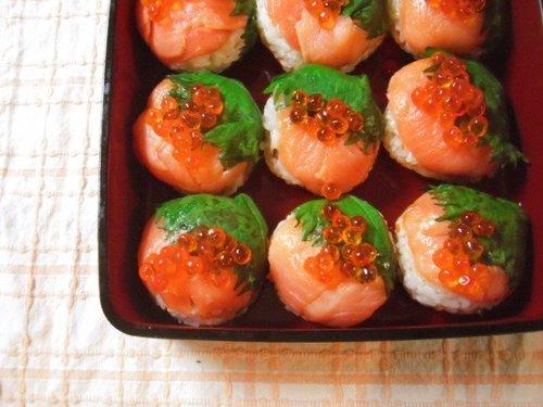 Salmon & Ikura Salmon Roe Temari Sushi