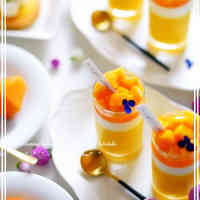 Creamy Melting Triple-layered Mango Pudding