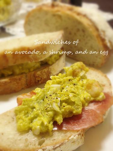 Egg Salad Sandwich with Avocado and Shrimp