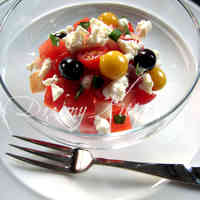 Watermelon, Peach, Tomato, and Feta Cheese Salad