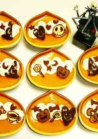 Kabocha Squash Custard Puddings Decorated with Chocolate Characters for Halloween