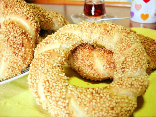 Simit: Turkish Bread Rings Coated with Sesame Seeds