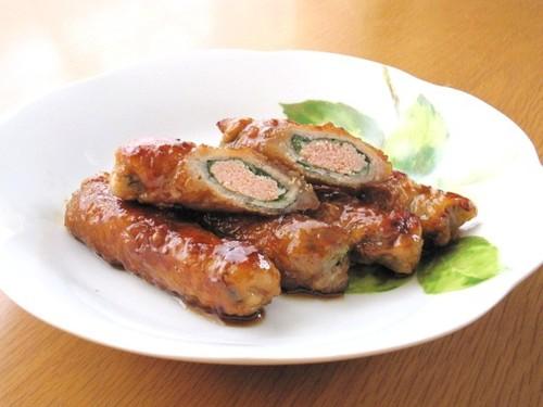 Teriyaki Pork Shiso and Mentaiko Rolls