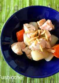 Simmered Daikon Radish and Chicken in a Pressure Cooker