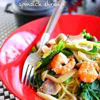 Japanese-Style Buttered Pasta With Shrimp and Spinach