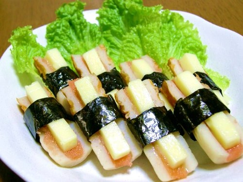 Baked Chikuwa with Mentaiko and Cheese