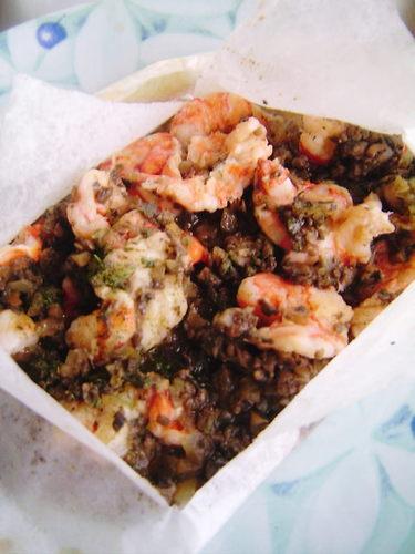 Shrimp en Papillote with Mushroom Sauce
