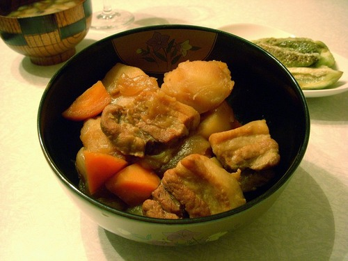 Nikujaga (Simmered meat and potatoes) with Thick Cut Pork Belly