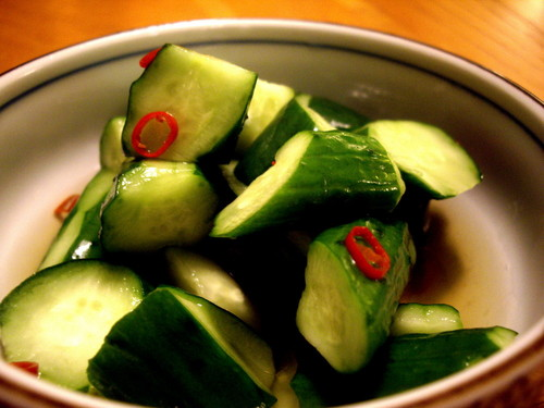 Spicy Cucumbers Pickled Overnight in Fish Sauce