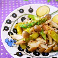 Stir Fried Shimeji Mushrooms and Asparagus with Tuna and Mustard