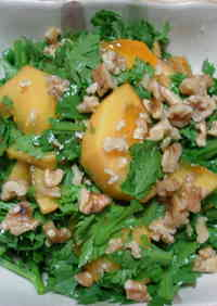 Persimmon and Chrysanthemum Leaf Salad