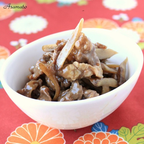 Sweet and Salty Simmered Beef and Burdock Root
