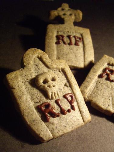 Sesame Cookies for Halloween Tombstones and Castles