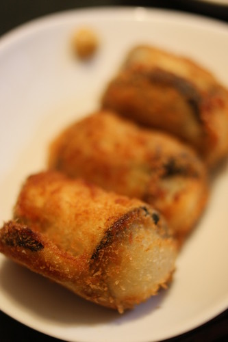 Fried Potato Wrapped in Eggplant