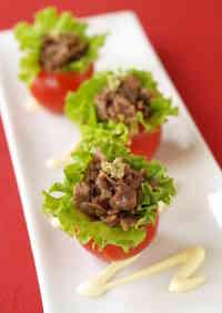 Easy and Elegant Bite-Sized Yakiniku Tomato Cups