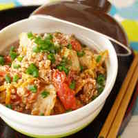 Kimchi and Tomato Rice Bowl for an Energy Boost in the Morning
