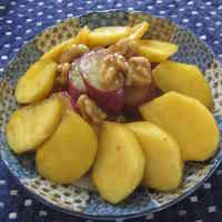 Sweet Potato and Persimmon with Lemon Juice, Sugar, and Soy Sauce