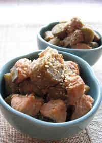 Salmon and Burdock Root Stewed in Sesame Seed and Miso sauce