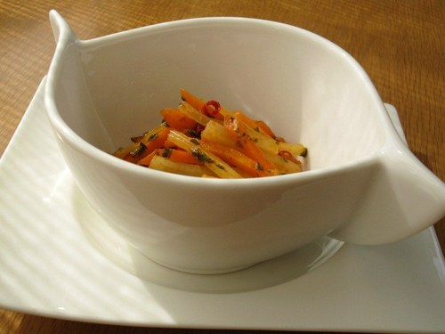 Spicy Carrot and Celery Steamed in Ketchup