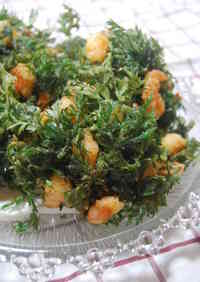 Carrot Tops and Shrimp Kakiage Fritters