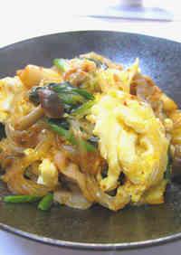 Pork, Egg, Spinach, Glass Noodles & Kimchi Stir-fry