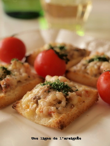 Great with Wine! Anchovy-Shrimp Toast.