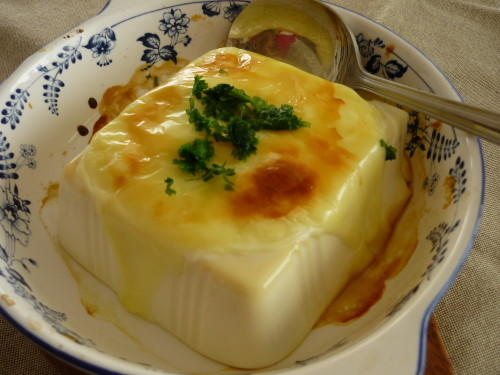 Toasted Silken Tofu with Cheese