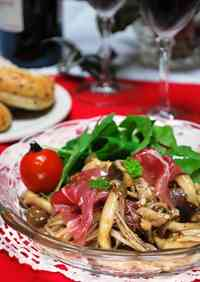Mushroom and Cured Ham Marinated in Balsamic Vinegar