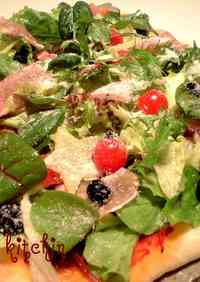 Salad Topped Pizza